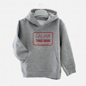 camisola de capuz temos vagar cinza claro para criança com design em vermelho Ti'Xico