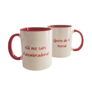 Caneca ceramica branca e vermelha amores ti'xico