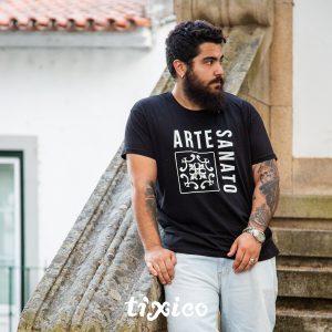 T-shirt ARTESANATO preto personalização branco