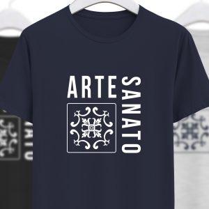 foto da tshirt artesanato azul ecplise da colecção alentejanices