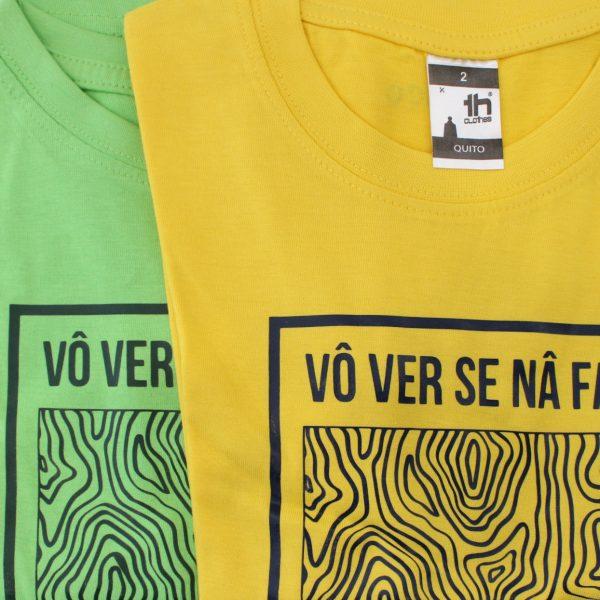 T-shirts criança madeira FAÇO NADA verde e amarelo