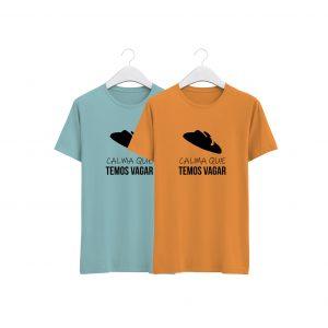 fotos das tshirts azul e laranja temos vagar colecção criança promo dia das crianças