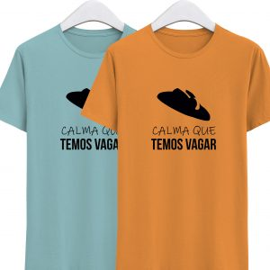 fotos da tshirts azul e laranja temos vagar da colecção alentejanices criança promo dia das crianças