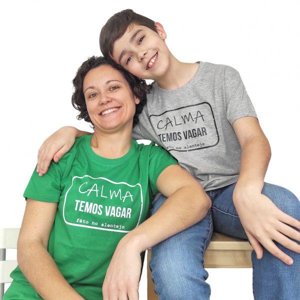 t-shirt temos vagar cinza verde pasto Ti'Xico