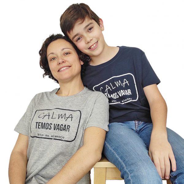t-shirt temos vagar azul marinho cinza Ti'Xico